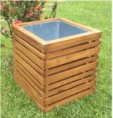 Wooden Crate with Metal Pot, 500x500x500 mm