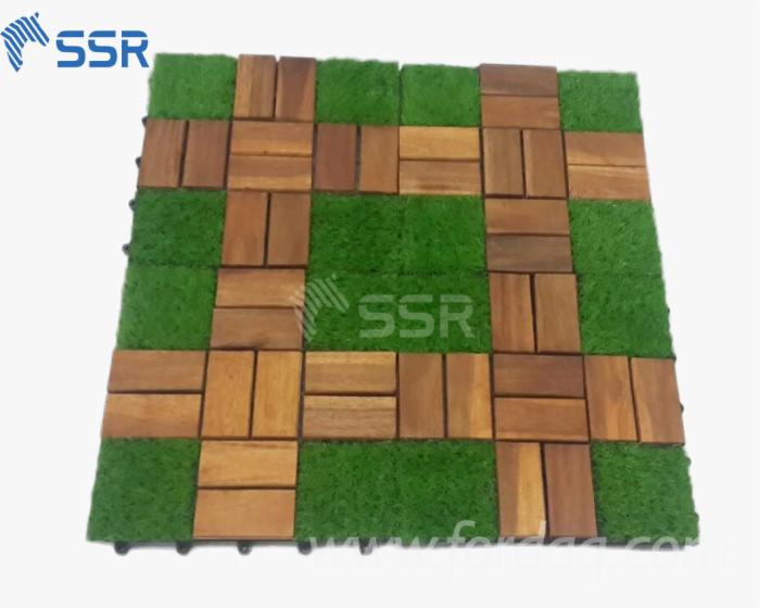 artificial-grass--mixed-Acacia-wood-exterior-decking-tiles-