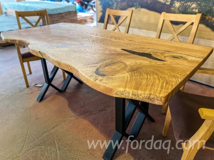 Vend-Ensemble-Table-Et-Chaises-Pour-Salle-%C3%80-Manger-Rustique-Campagne-Feuillus-Europ%C3%A9ens-H%C3%AAtre