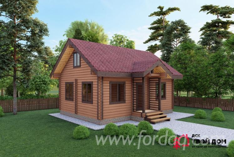 Dom-Drewniany-Z-Bali-Frezowanych--Sosna-Zwyczajna---Redwood