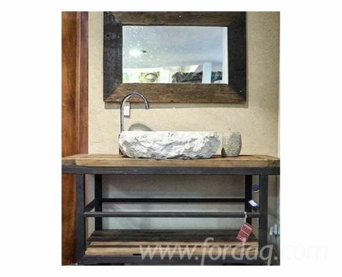 Industrial-Style-Solid-Wood-Console-Table-Bathroom