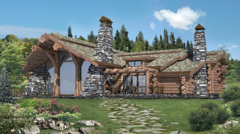 Handcrafted log homes cabins canadian log homes chalet for Log home floor plans canada